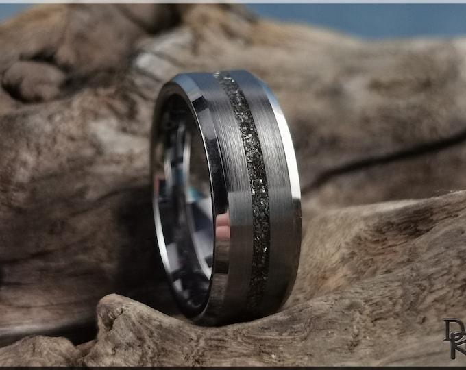 Thin Line Tungsten Carbide Channel Ring w/Meteorite and White Brass inlay