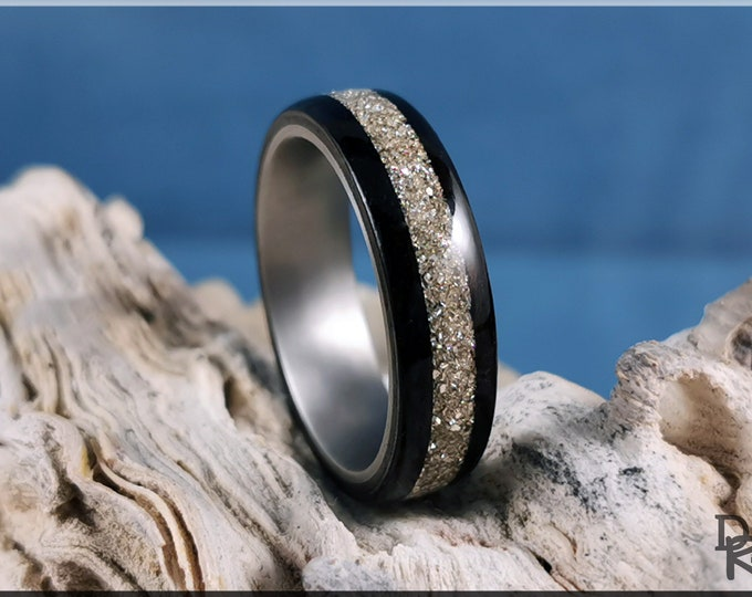 Bentwood Ring - Smoked Eucalyptus w/Silver Glass inlay, on titanium ring core