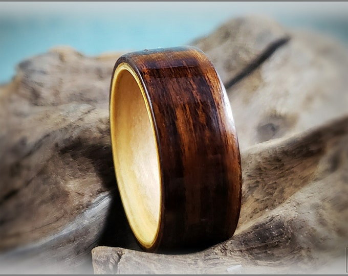 Dual Bentwood Ring - Bolivian Rosewood on Bentwood Rainbow Poplar ring core