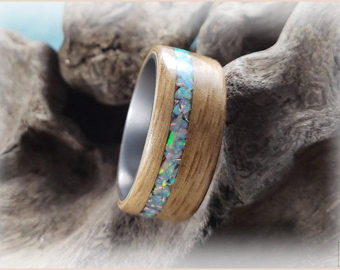 Bentwood Ring - English Chestnut w/offset Cornflower Blue Opal inlay, on Titanium ring core