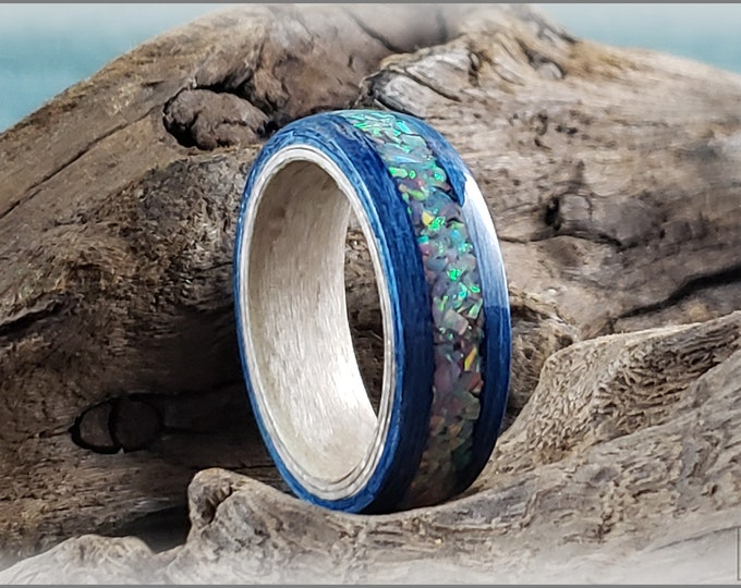 Dual Bentwood Ring - Deep Blue Koto w/Blue Grey Opal inlay, on bentwood Pewter Birdseye Maple ring core
