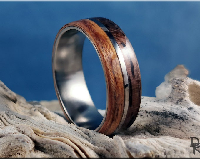 Dual Bentwood Ring - Curly Black Walnut and Figured Etimoe, on 7mm titanium T-Core - Wood Ring