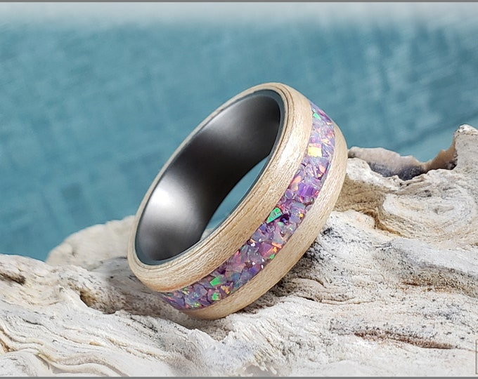 Bentwood Ring - Ambrosia Maple w/Multi Lavender Opal inlay on titanium ring core