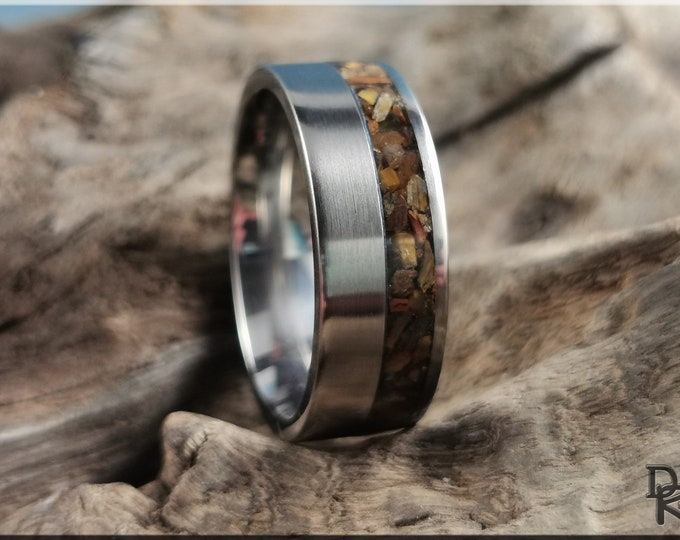 Titanium Offset 8mm Channel Ring w/Tiger's Eye Stone inlay