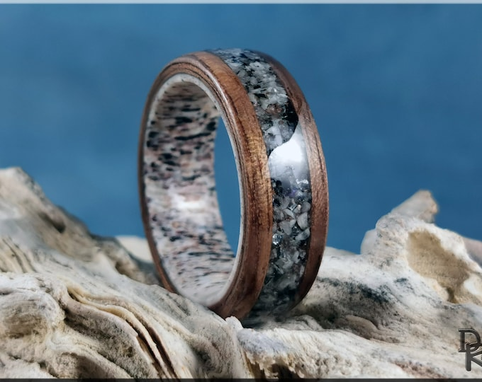 Bentwood Ring - Curly Black Walnut w/Moonstone and Mica matrix inlay, on 8mm Deer Antler ring core - wood ring