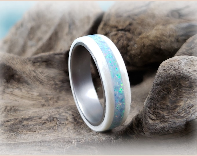 Bentwood Ring - Snow White Sycamore w/Cornflower Blue opal inlay, on titanium ring core