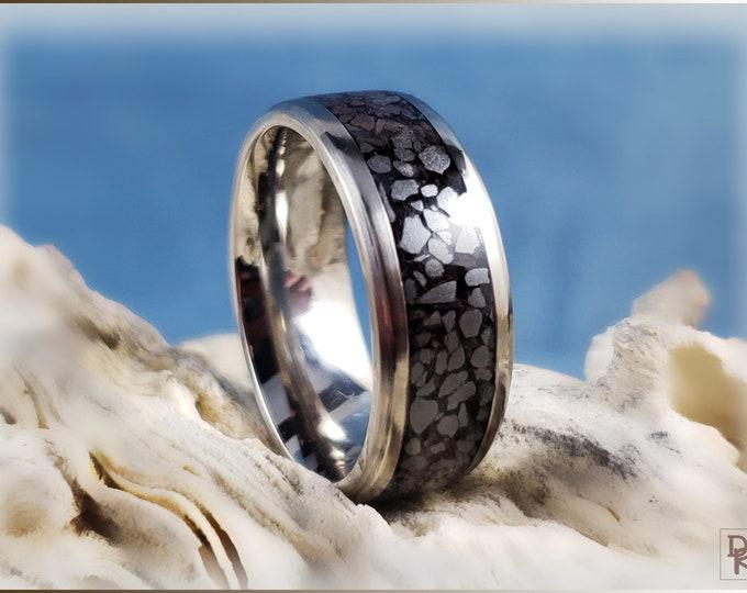 Titanium Channel Ring w/Hematite stone inlay
