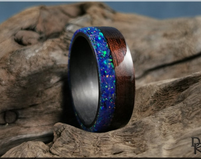 Bentwood Ring - Smoked Etimoe w\Live Edge Starry Night Opal inlay, on Carbon Fiber ring core - Wood Ring