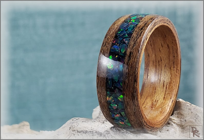 on bentwood Curly Etimoe ring core Louro Preto wSpace Blue Opal inlay Dual Bentwood Ring