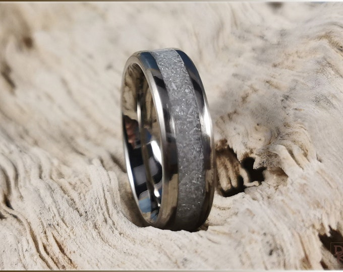 Titanium Channel Ring w/Selenite stone inlay