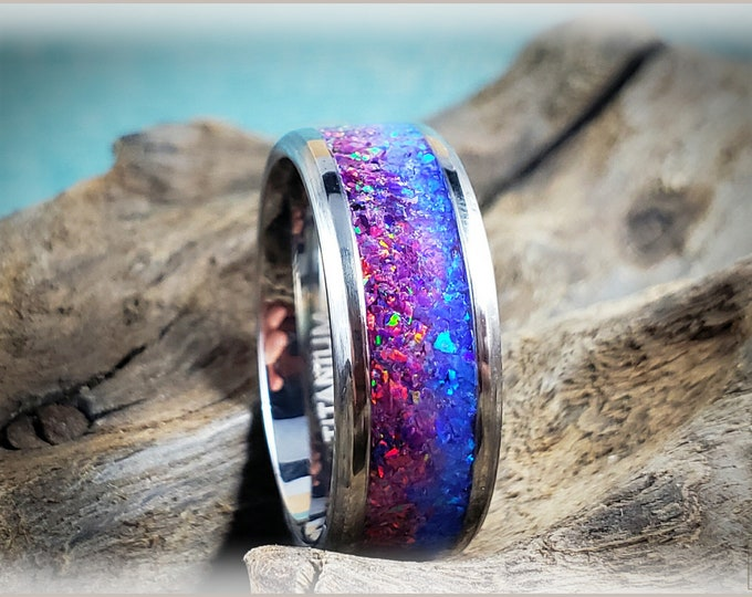 Titanium 'Dusk Skies' 8mm Channel Ring w/Blended Opal inlay