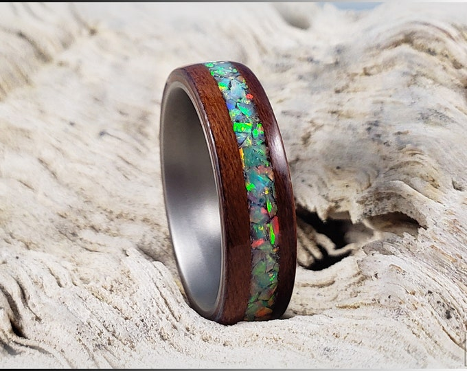 Bentwood Ring - Plum Wood w/Fire and Snow opal inlay, on titanium core