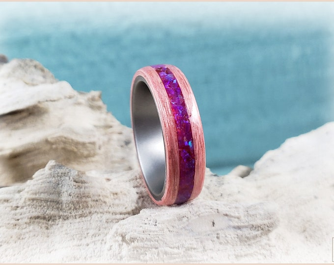 Bentwood Ring - Strawberry Koto w/Waterlily opal inlay on titanium ring core