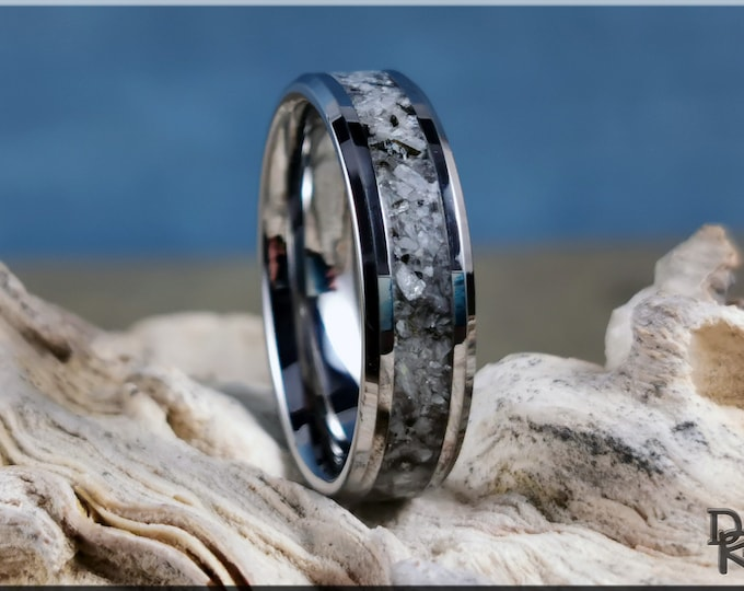 Tungsten Carbide Channel Ring w/Moonstone-Mica Matrix Stone inlay - metal ring