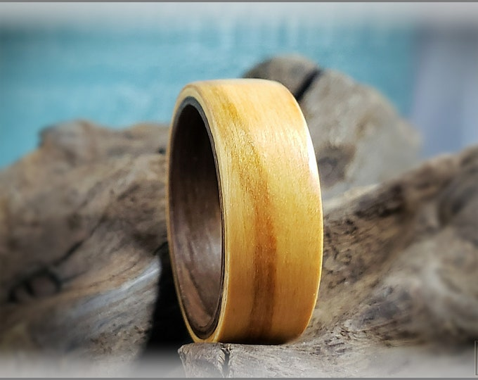 Dual Bentwood Ring - Olivewood on Bentwood Fumed Aspen ring core