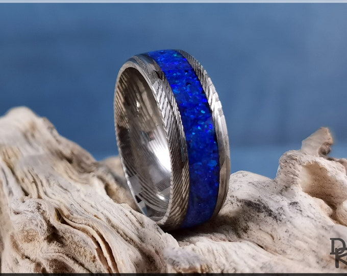 Genuine Damascus Steel Channel Ring w/Opal inlay