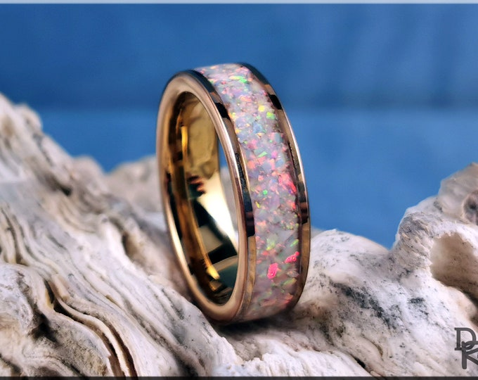 Rose Gold Plated Tungsten Carbide 6mm Channel Ring w/Sun and Ice opal inlay