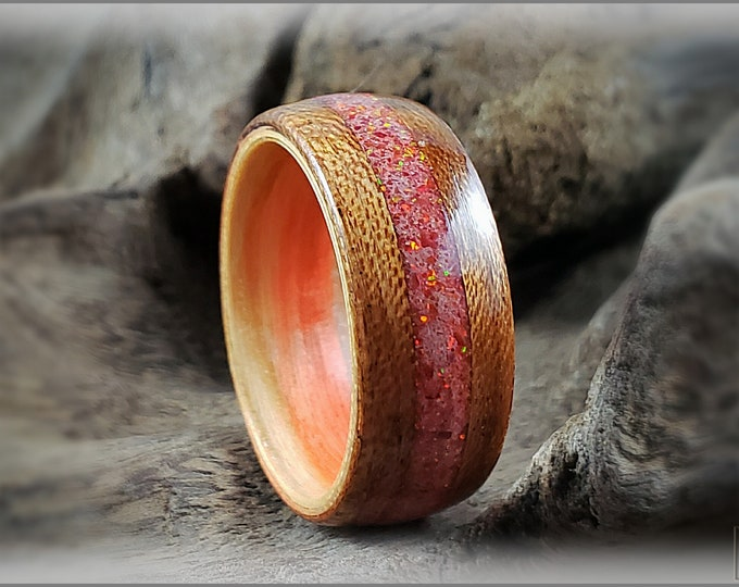 Dual Bentwood Ring - Etimoe w/Opal Glow mix  inlay, on bentwood Flame Box Elder ring core