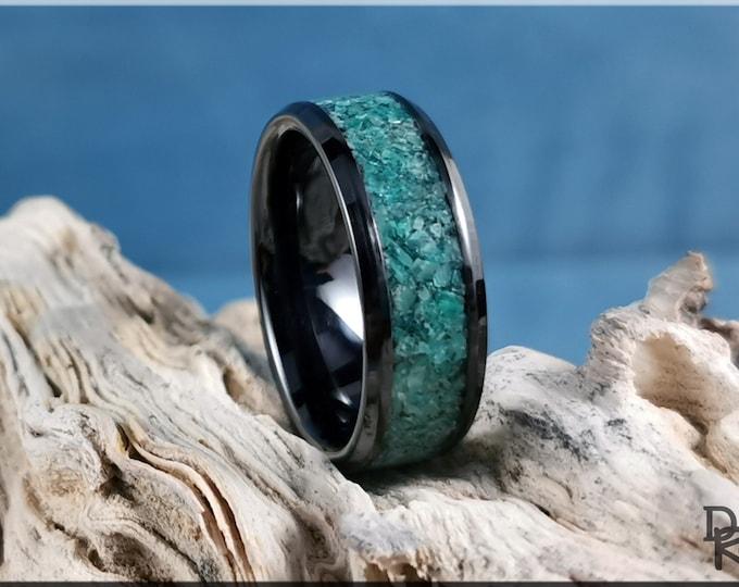 Polished Black Ceramic Channel Ring w/Amazonite Stone inlay