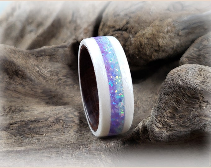Bentwood Ring - Snow White Sycamore w/Dual Lavender and Cornflower Blue Opal inlays, on Ironwood ring core