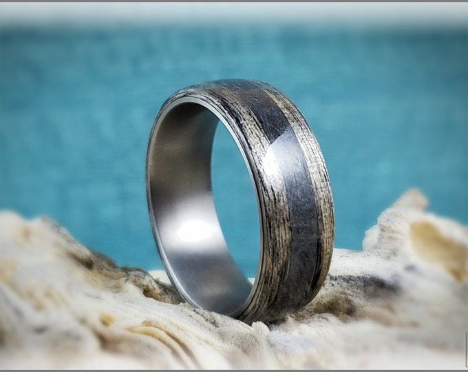 Bentwood Ring - Harborica w/Powdered Nickel Silver inlay, on titanium ring core