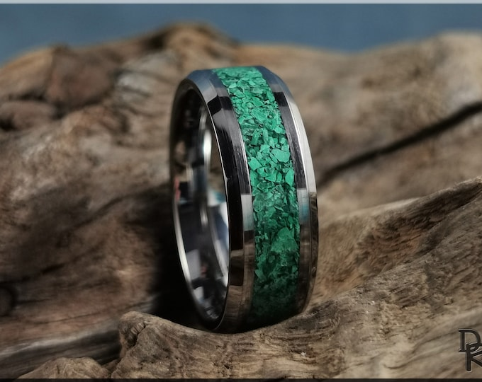 Tungsten Carbide Channel Ring w/Green Malachite Stone inlay - Metal Ring