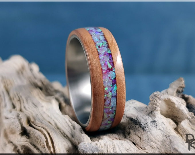 Bentwood Ring - Curly Cherry w/Angel Skin House Blend opal inlay, on titanium ring core