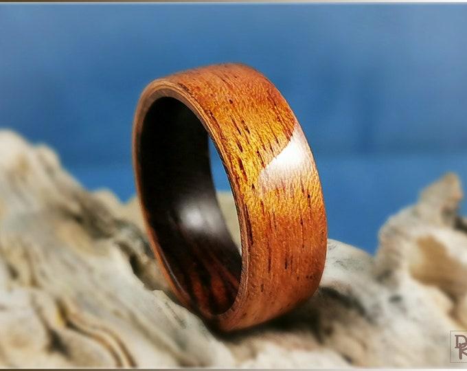 Bentwood Ring - Figured Etimoe on Ironwood ring core - Wood Ring
