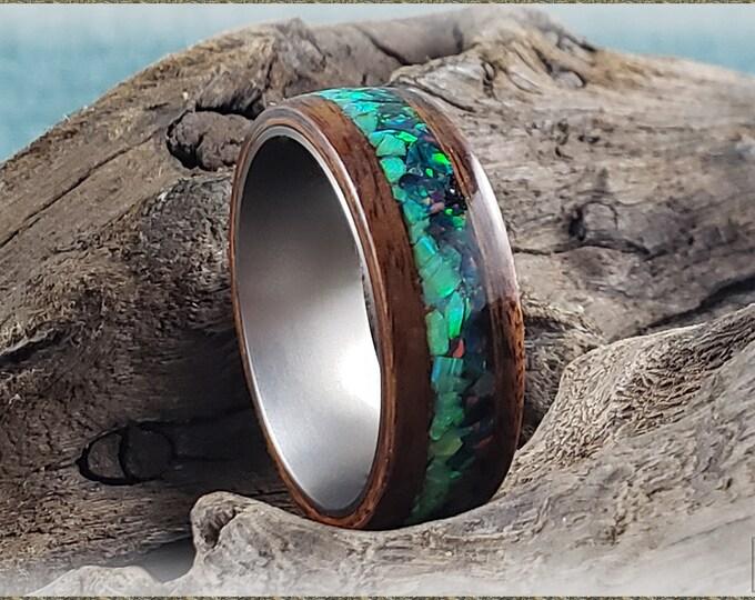 Aurora Bentwood Ring - Santos Rosewood w/Opal Blend inlay, on titanium ring core