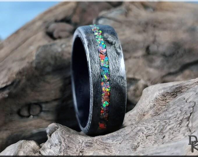 Bentwood Ring - Graphite Grey Birdseye Maple w\Opal Blend inlay, on Deep Black Koto bentwood ring core - Wood Ring