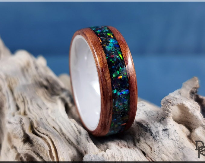 Bentwood Ring - Figured Etimoe w/Space Fire House Blend Opal inlay, on Polished White Ceramic ring core
