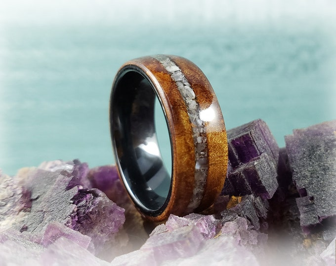 Bentwood Ring - Rare Camphor Burl with Moonstone inlay, on polished black ceramic ring core