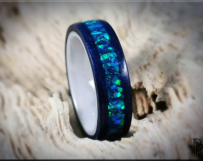 Bentwood Ring - Midnight Blue Tulipwood w/Azure Opal inlay, on polished white ceramic ring core