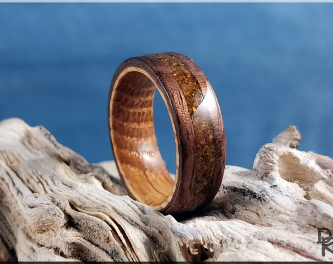 Bentwood Ring - Curly Black Walnut w/Tiger Eye Stone inlay, on Whisky Barrel ring core