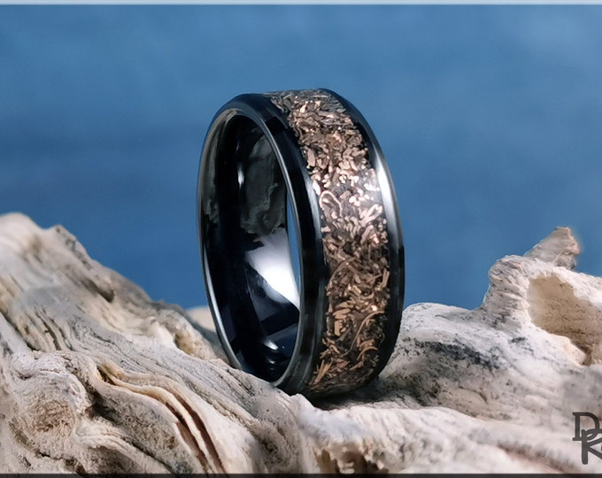 Polished Black Ceramic Channel Ring w/Shredded Bronze inlay