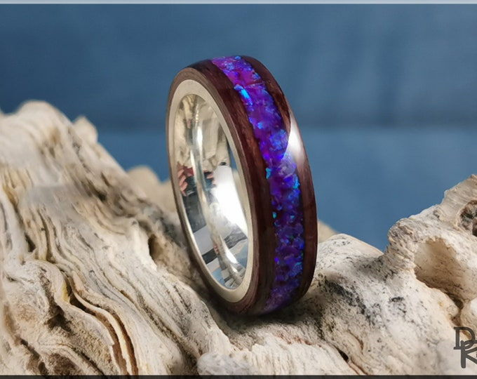 Bentwood Ring - Purpleheart w/Orchid Opal inlay, on premium .925 Sterling Silver ring core