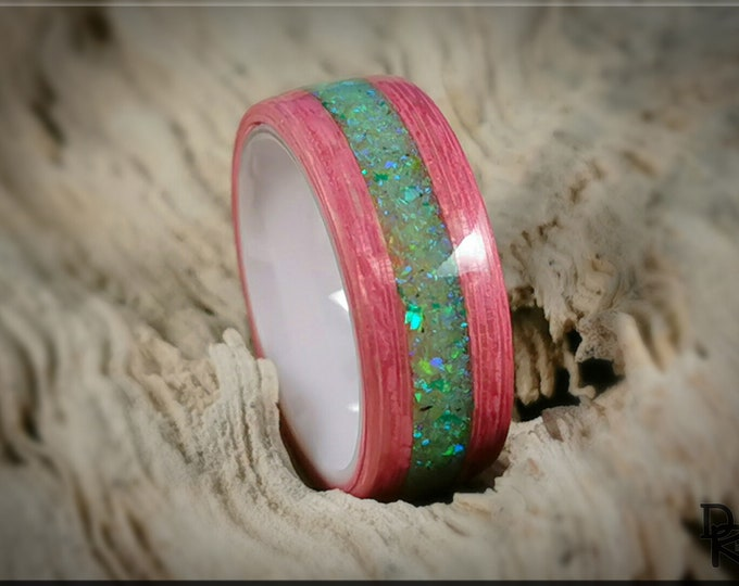 Bentwood Ring - Strawberry Koto w/Honeydew Opal inlay, on polished white ceramic ring core