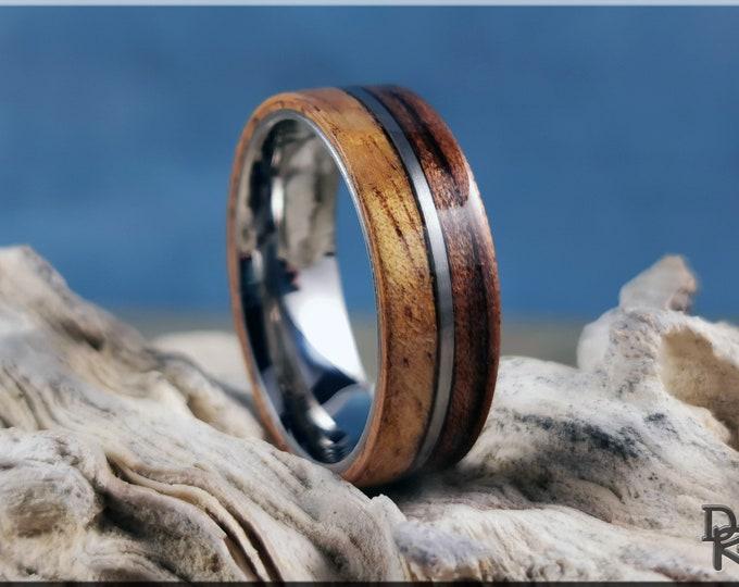 Dual Bentwood Ring - Koa and Mango on 7mm titanium T-Core - Wood Ring