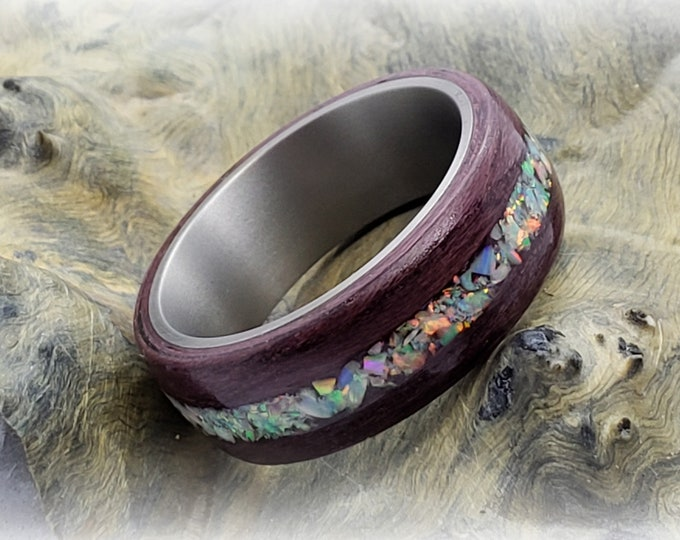 Bentwood Ring - Purpleheart w/White Fire opal inlay, titanium ring core.