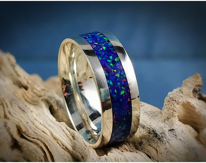 Premium .925 Sterling Silver 8mm Channel Ring w/Opal inlay