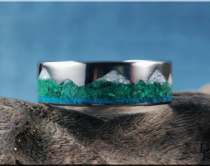 Titanium Mountain Pattern Ring w/Triple stone inlay - metal ring