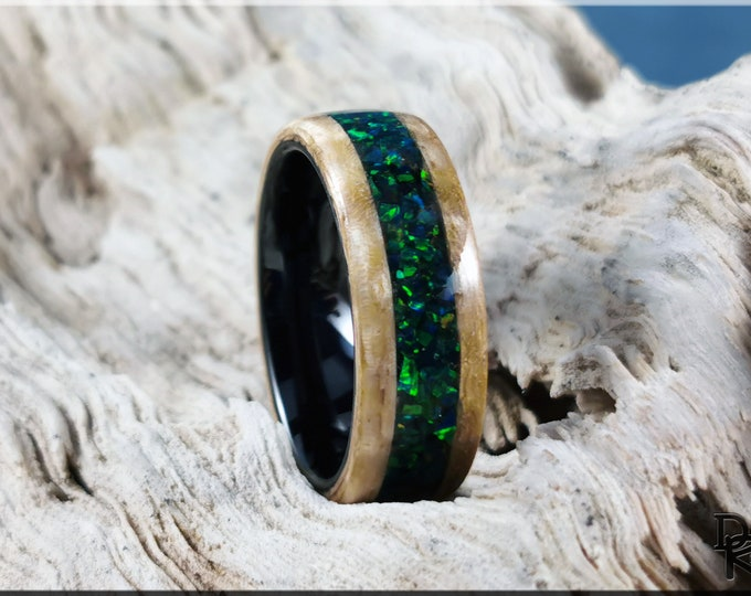Bentwood Ring - Curly Japanese Sen w/Black Emerald opal inlay, on polished black ceramic ring core - wood ring