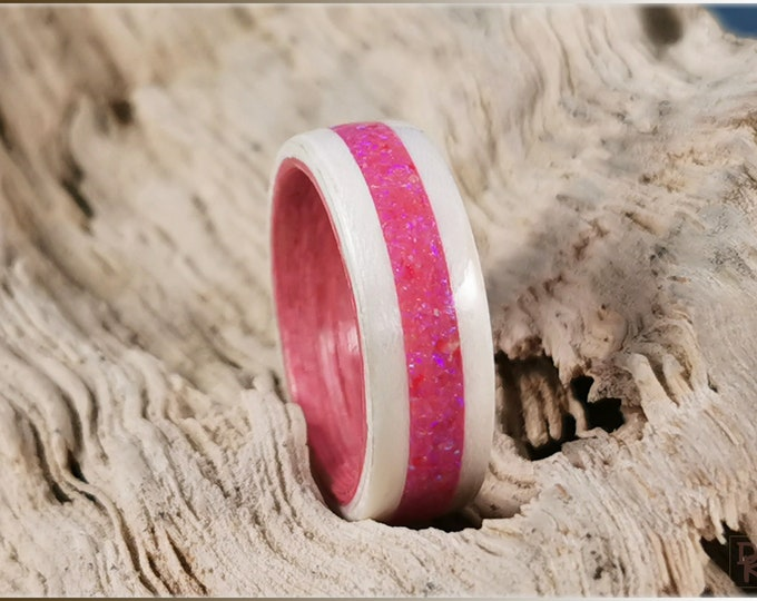 Dual Bentwood Ring - Ice White Birdseye Maple w/Pink Sugar Opal inlay, on bentwood Strawberry Koto ring core