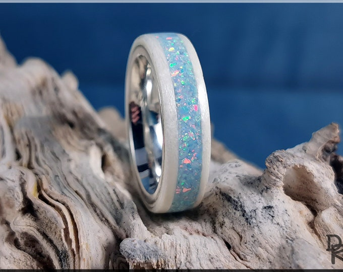 Bentwood Ring - Snow White Sycamore w/Cornflower Blue Opal inlay, on premium .925 Sterling Silver ring core