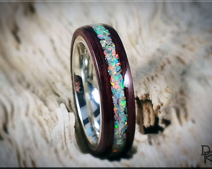 Bentwood Ring - Purpleheart w/Fire and Snow Opal inlay, on premium .925 Sterling Silver ring core