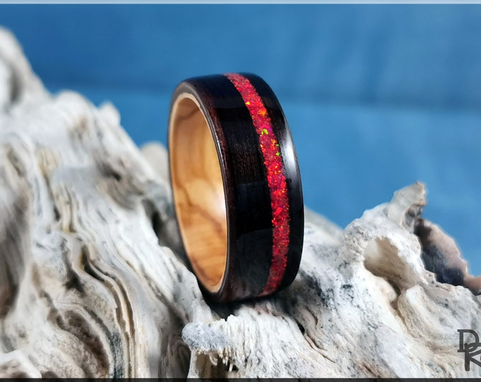Bentwood Ring - Amara Ebony w/offset Ruby Fire opal inlay, on Olivewood ring core