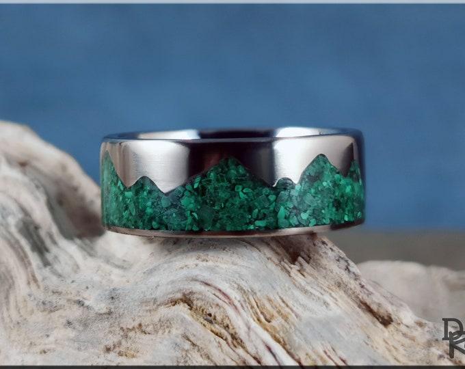 Titanium Mountain Pattern Ring w/Green Malachite stone inlay - metal ring