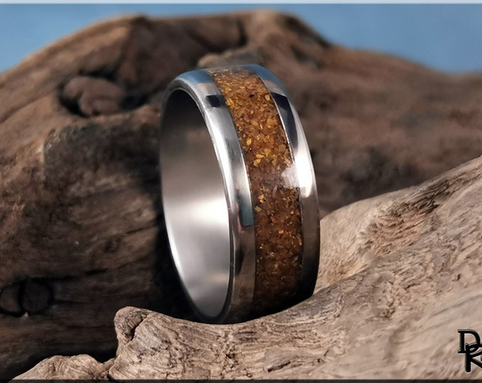 Titanium Channel Ring w/Tiger's Eye stone inlay