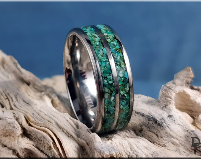 Titanium 8mm Dual-Channel Ring with Chrysocolla Stone inlay