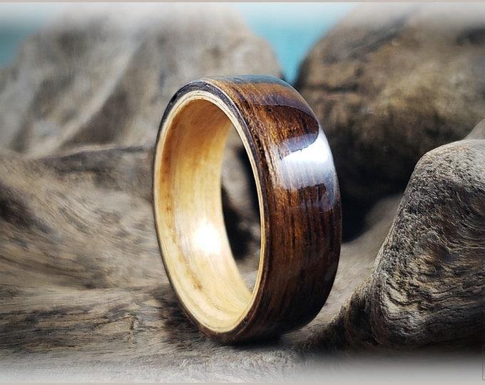 Dual Bentwood Ring - Figured Indian Laurel on Bentwood Swiss Aspen ring core